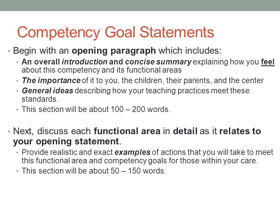 cda competency goal 5 examples Although the six competency goals are the same for all settings (center-based, family child care, home visitor), the functional area definitions and sample behaviors differ for each setting and age group the setting-specific materials available through the council's online bookstore include detailed information appropriate.