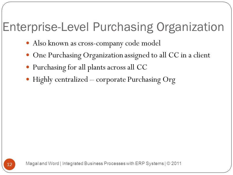 Enterprise-Level Purchasing Organization