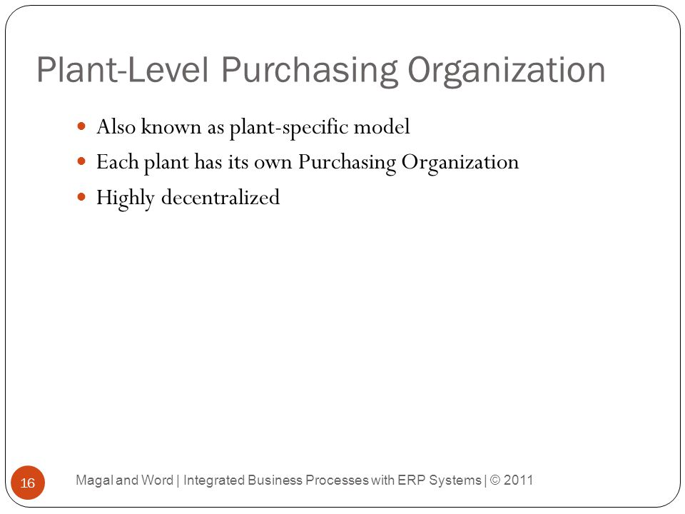 Plant-Level Purchasing Organization