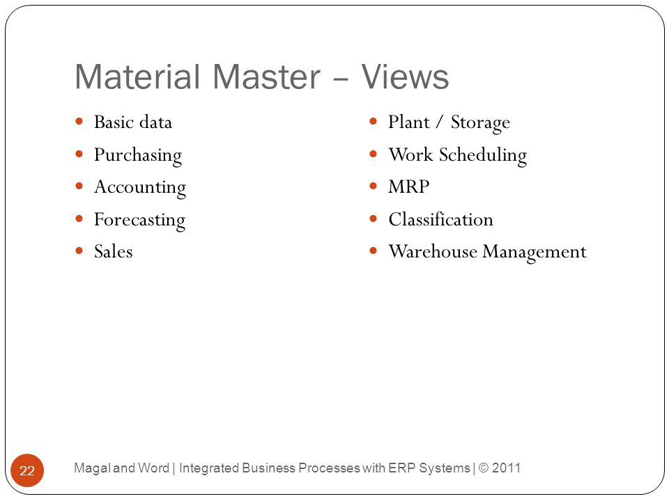 Material Master – Views