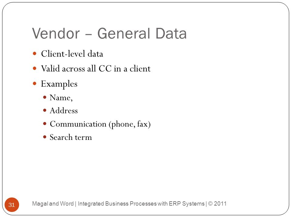 Vendor – General Data Client-level data