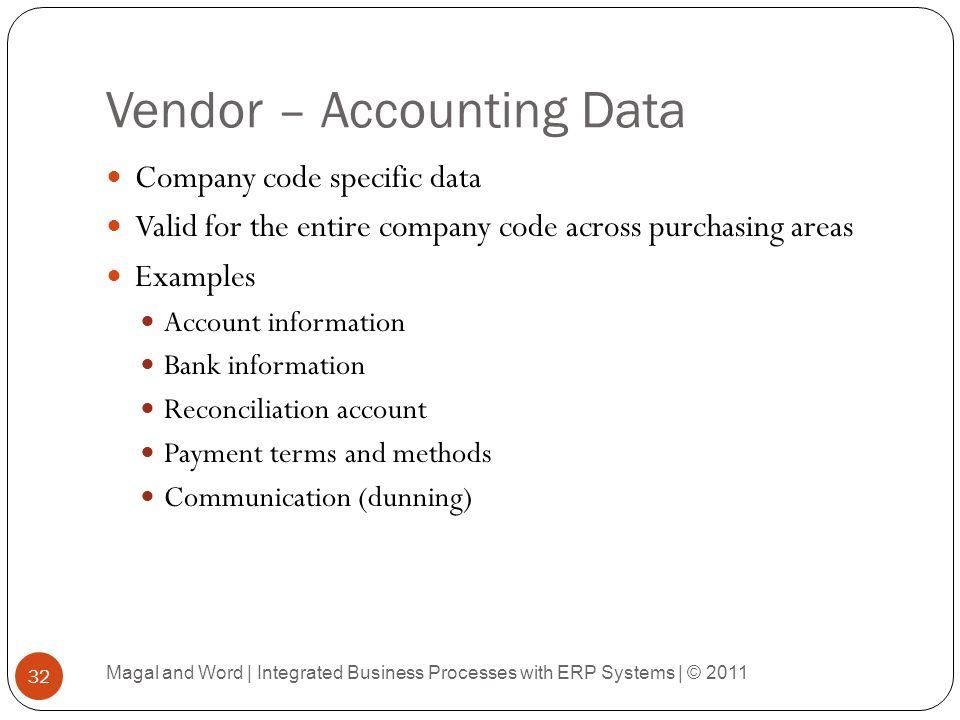Vendor – Accounting Data