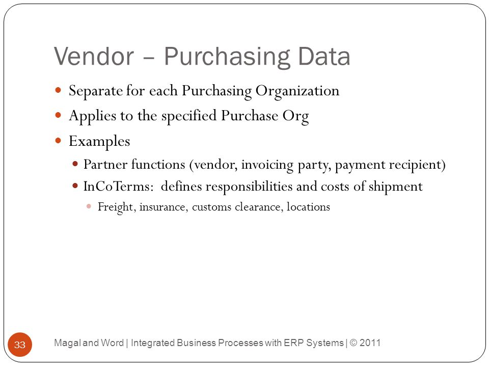 Vendor – Purchasing Data