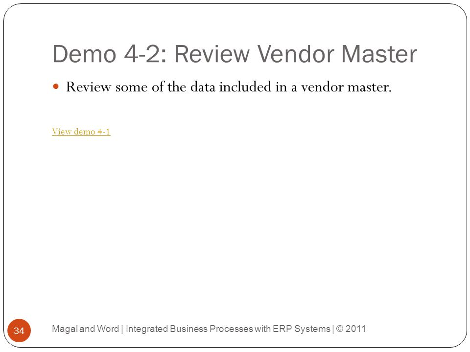 Demo 4-2: Review Vendor Master