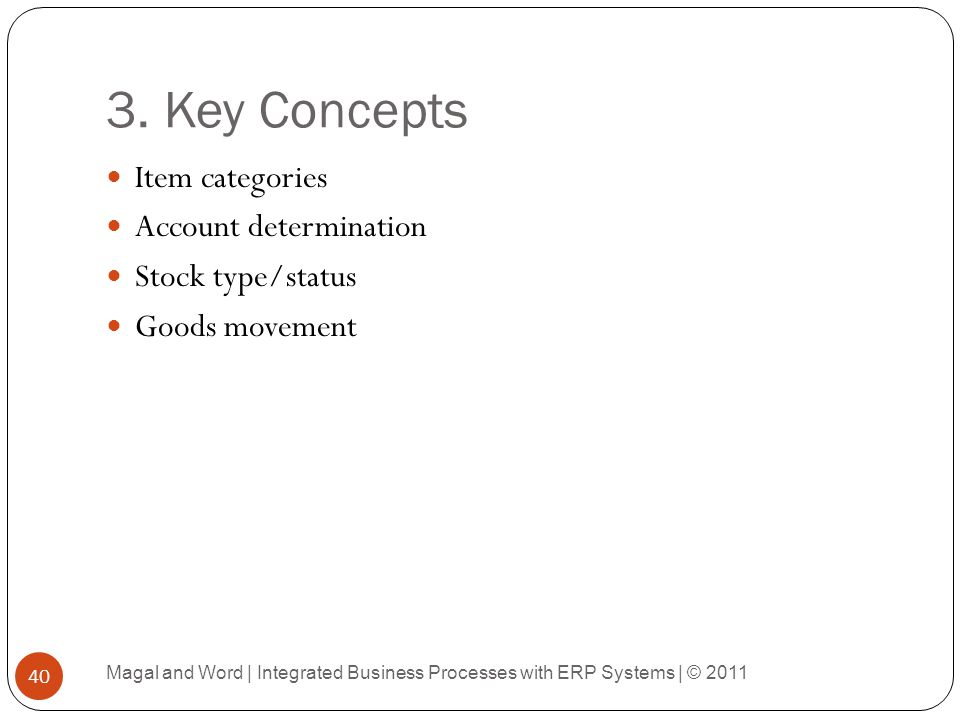 3. Key Concepts Item categories Account determination