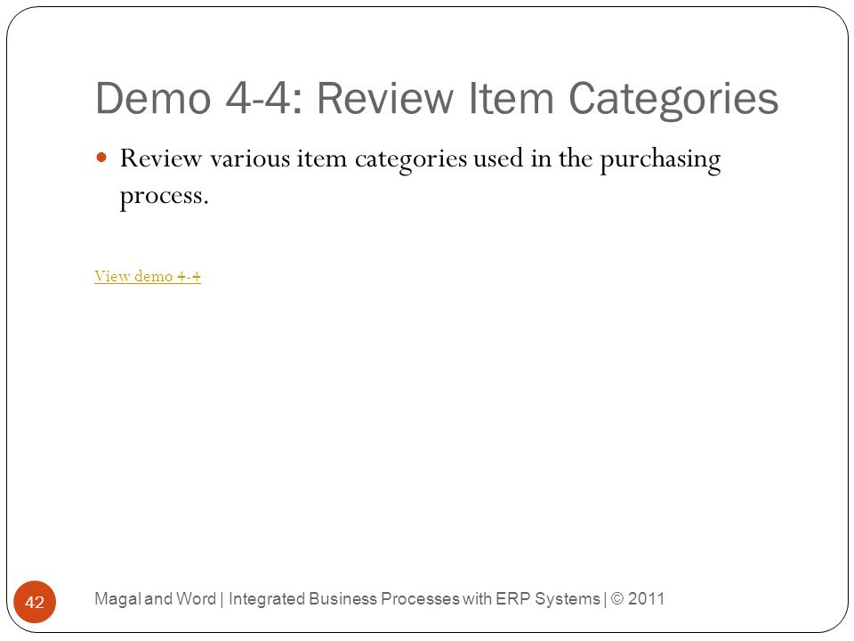 Demo 4-4: Review Item Categories