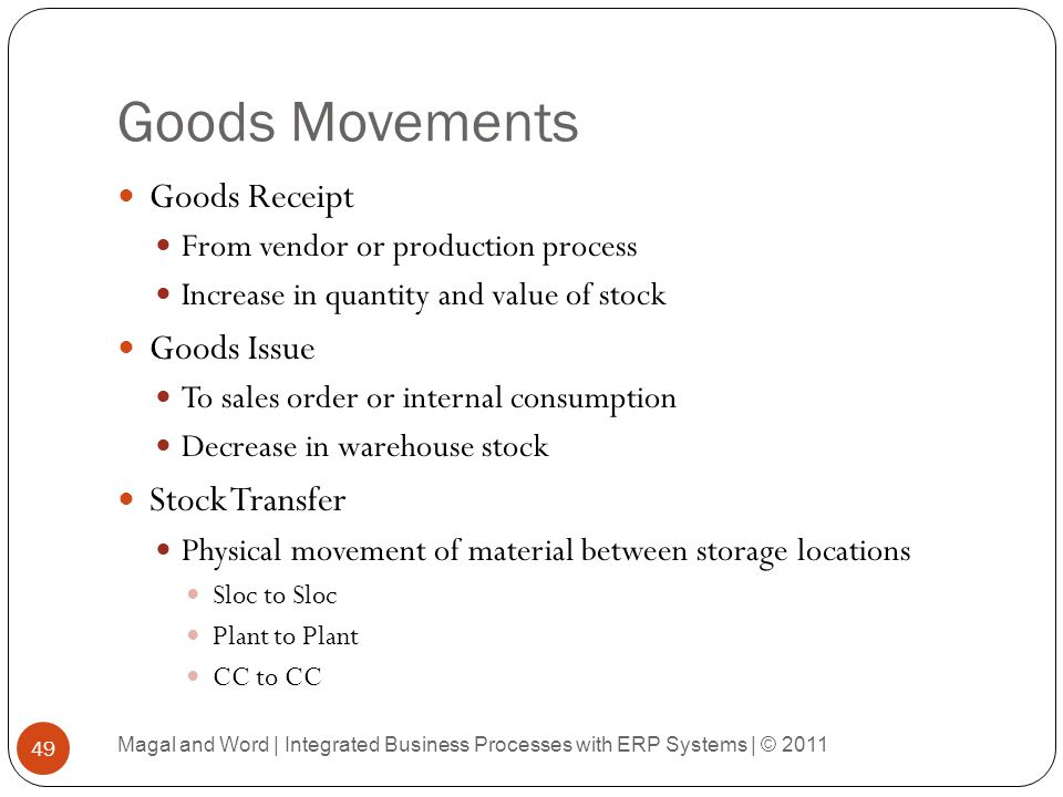Goods Movements Goods Receipt Goods Issue Stock Transfer