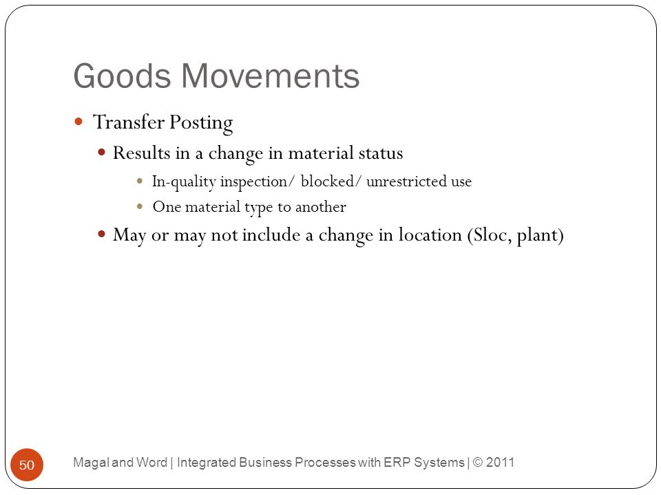 Goods Movements Transfer Posting