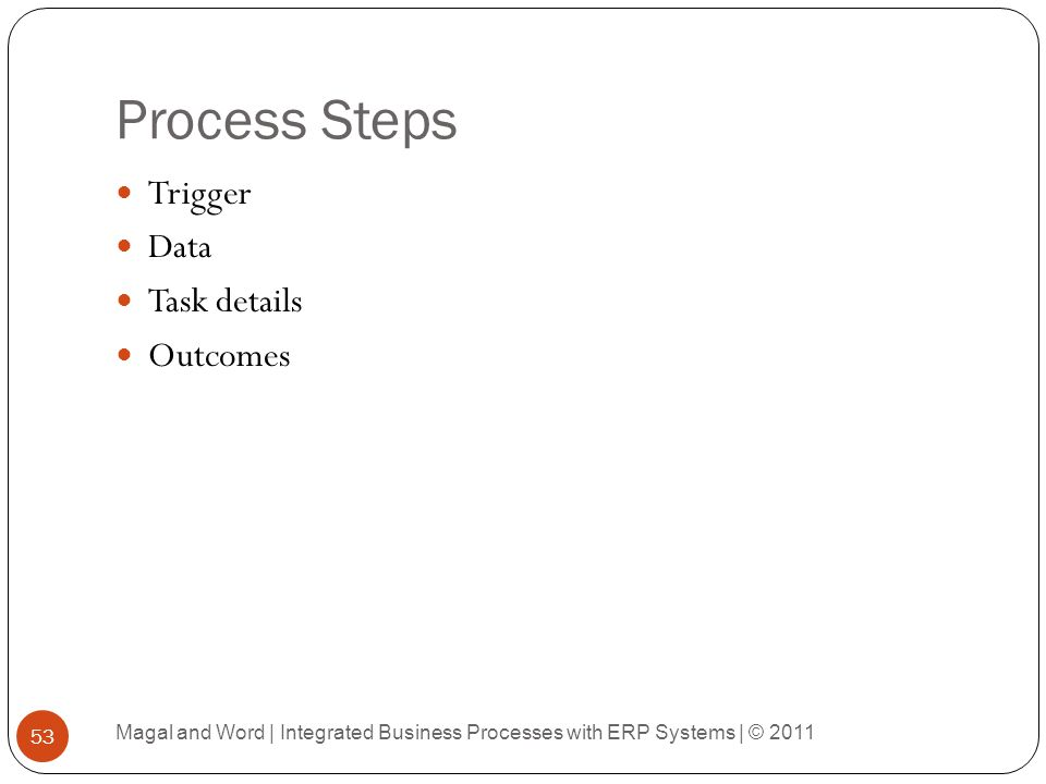 Process Steps Trigger Data Task details Outcomes