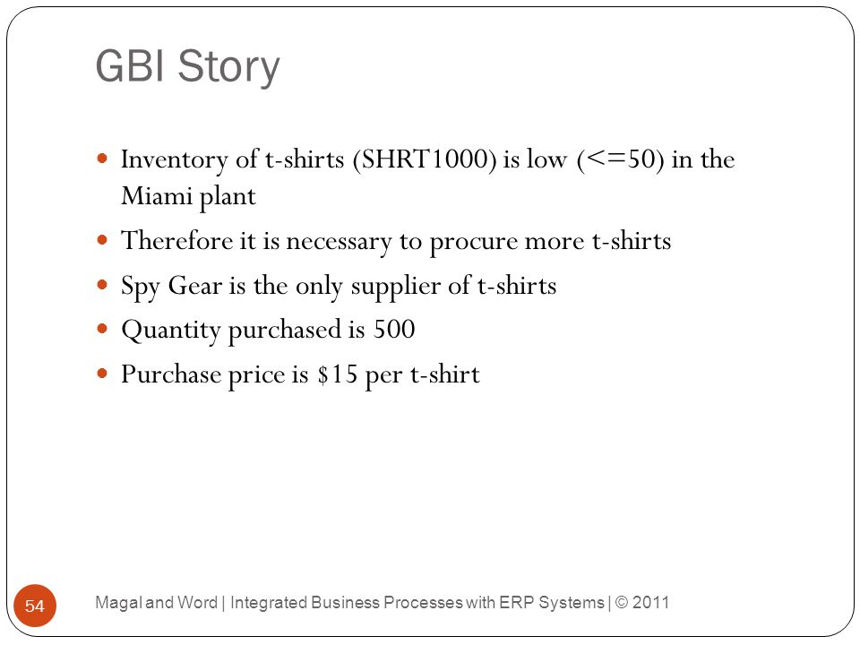 GBI Story Inventory of t-shirts (SHRT1000) is low (<=50) in the Miami plant. Therefore it is necessary to procure more t-shirts.