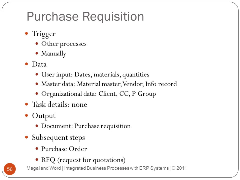 Purchase Requisition Trigger Data Task details: none Output