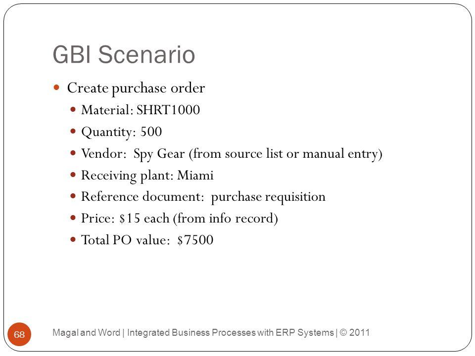 GBI Scenario Create purchase order Material: SHRT1000 Quantity: 500