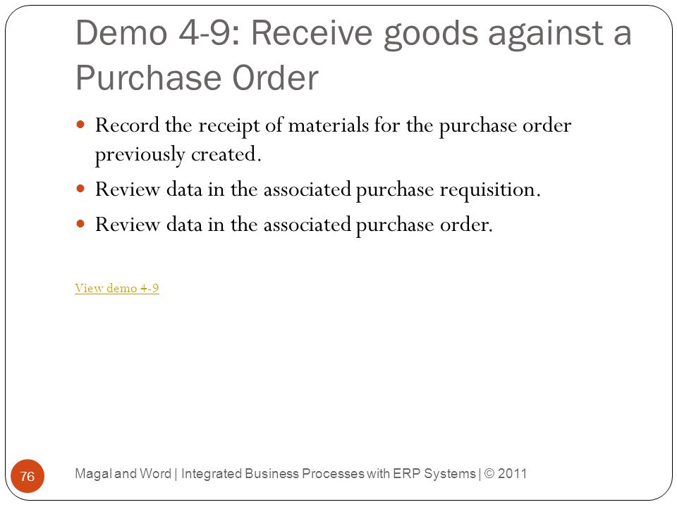 Demo 4-9: Receive goods against a Purchase Order