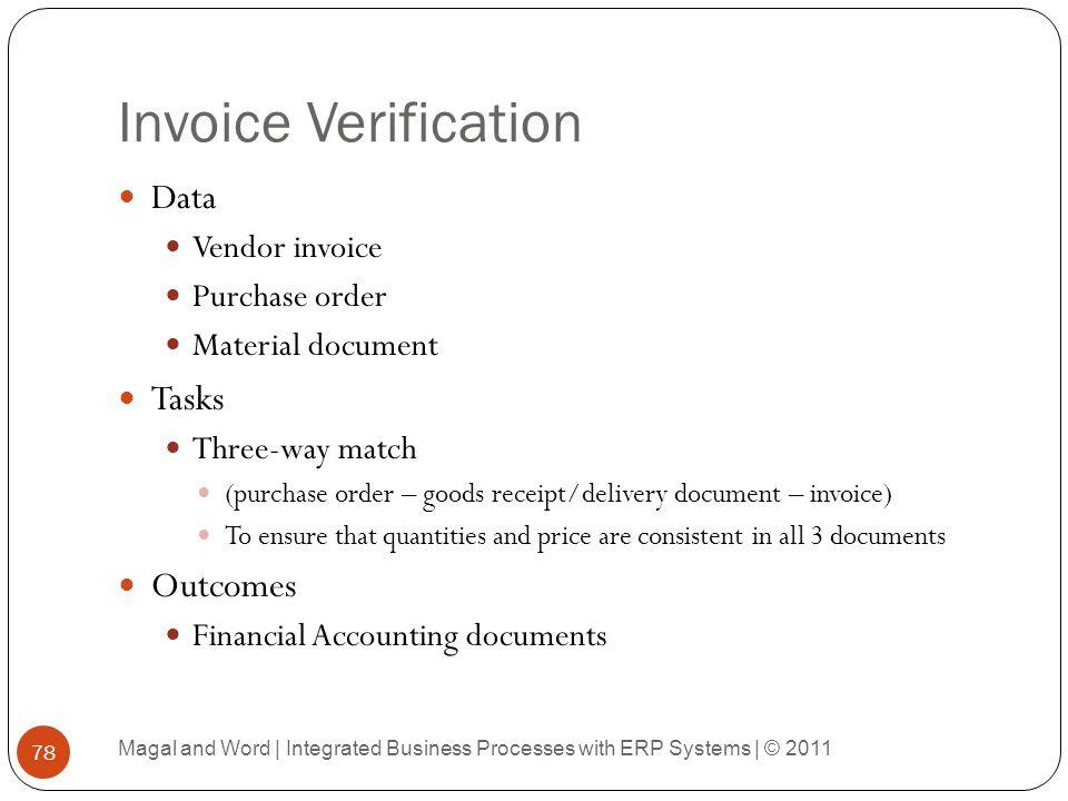 Invoice Verification Data Tasks Outcomes Vendor invoice Purchase order