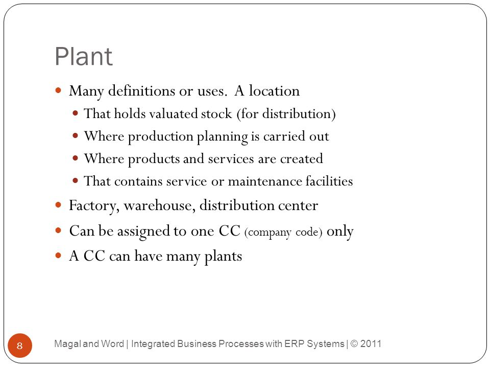 Plant Many definitions or uses. A location