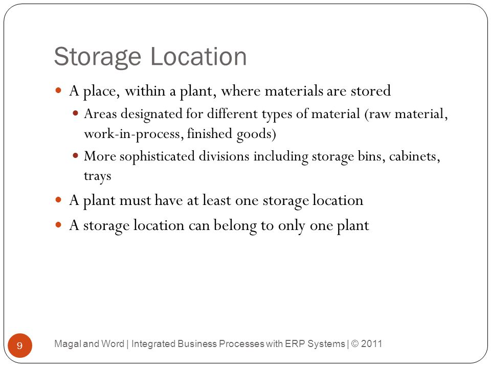 Storage Location A place, within a plant, where materials are stored