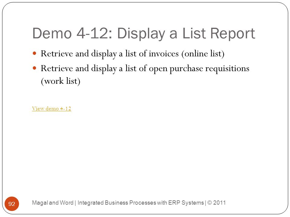 Demo 4-12: Display a List Report