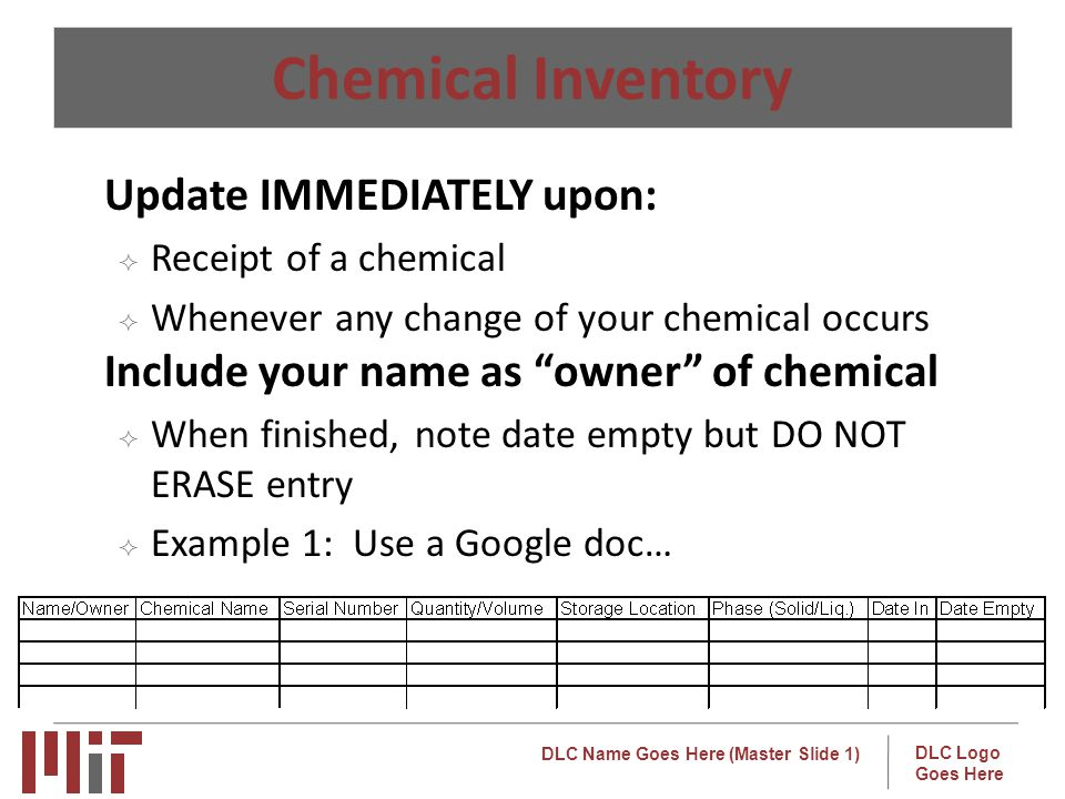 Chemical Inventory Update IMMEDIATELY upon: