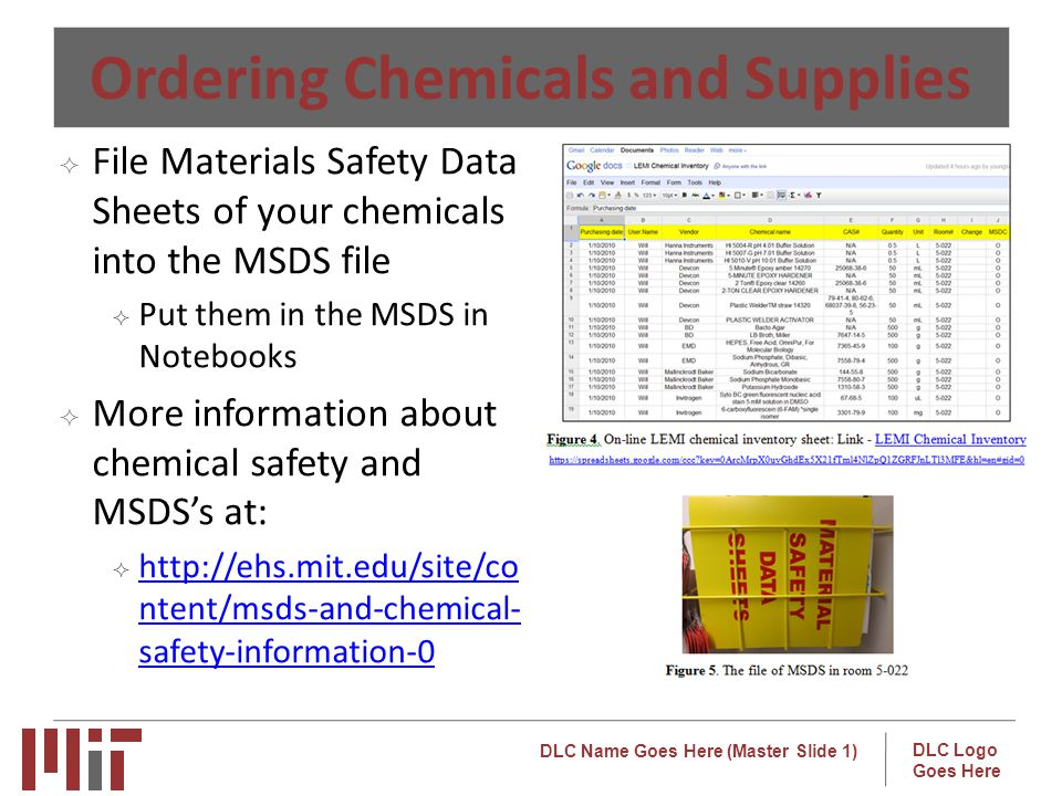 Ordering Chemicals and Supplies