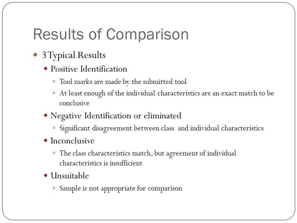 Results of Comparison 3 Typical Results Positive Identification