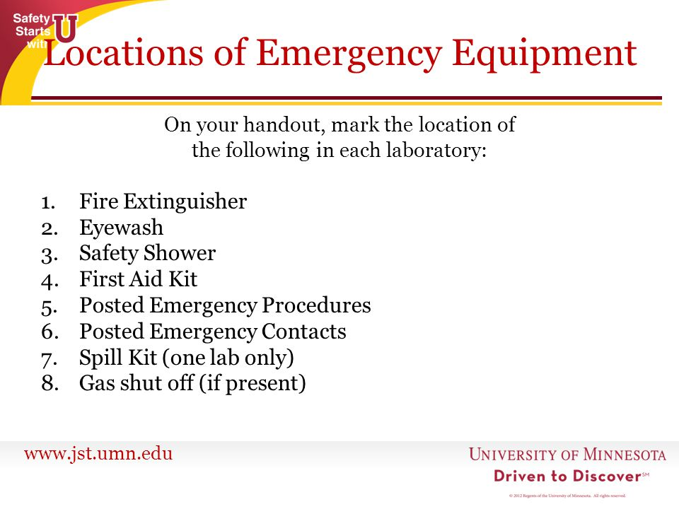 Locations of Emergency Equipment