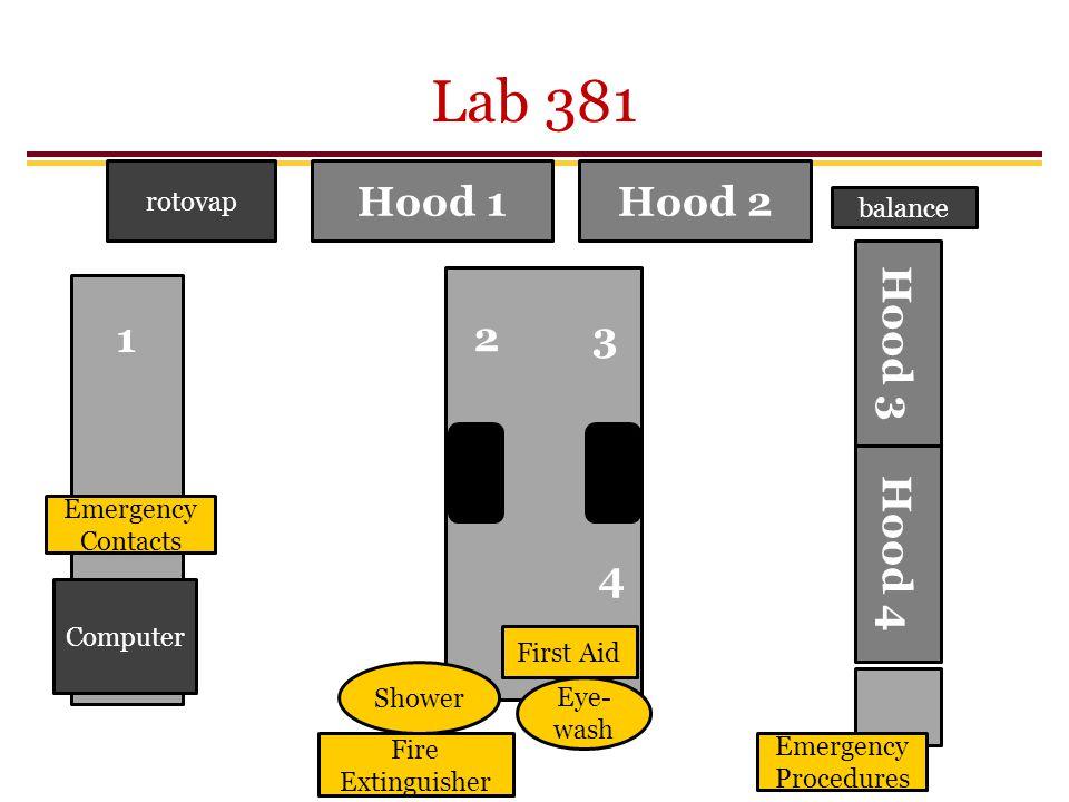 Lab 381 Hood 1 Hood 2 1 2 3 Hood 3 Hood 4 4 rotovap balance