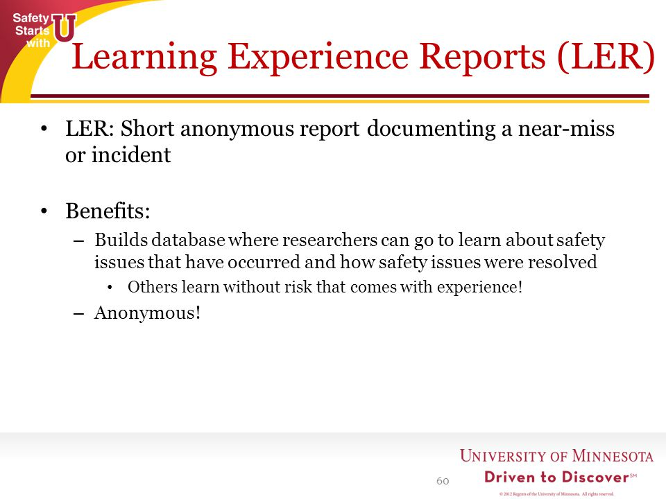 Learning Experience Reports (LER)