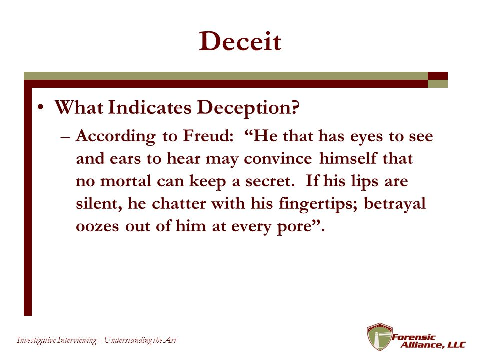 Deceit What Indicates Deception