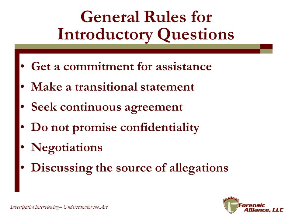 General Rules for Introductory Questions