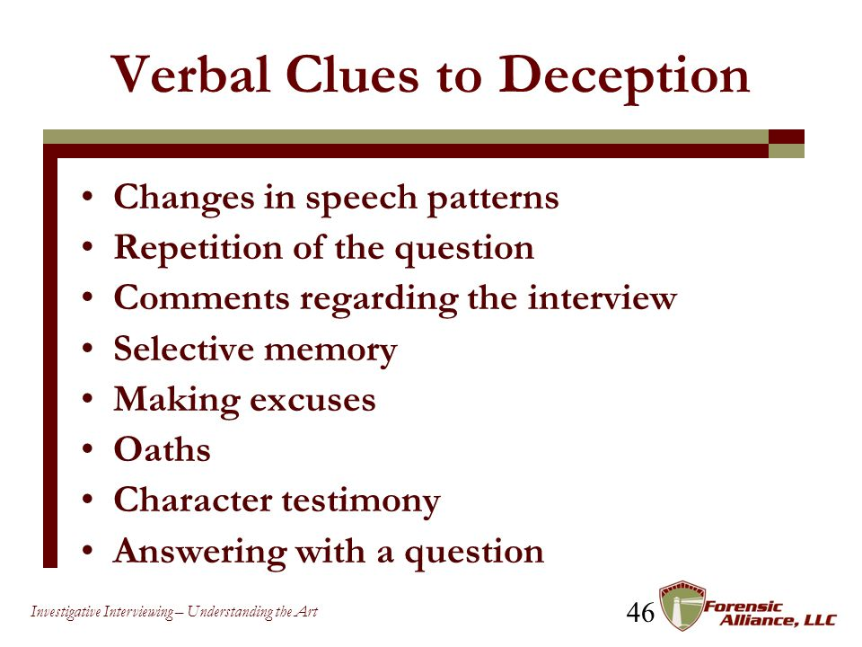 Verbal Clues to Deception