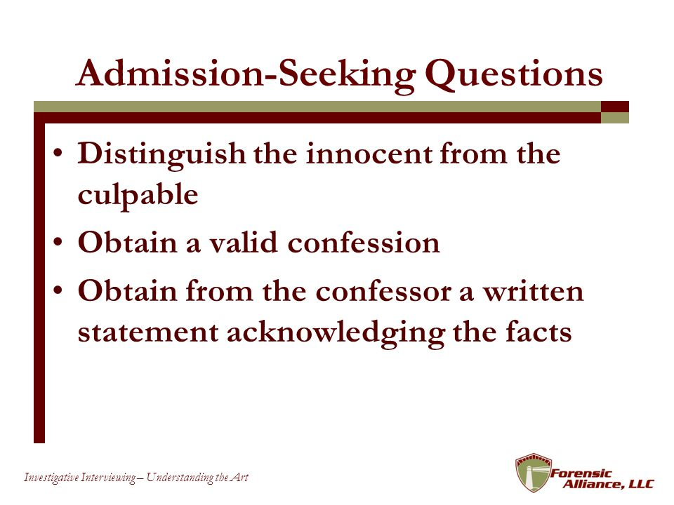Admission-Seeking Questions