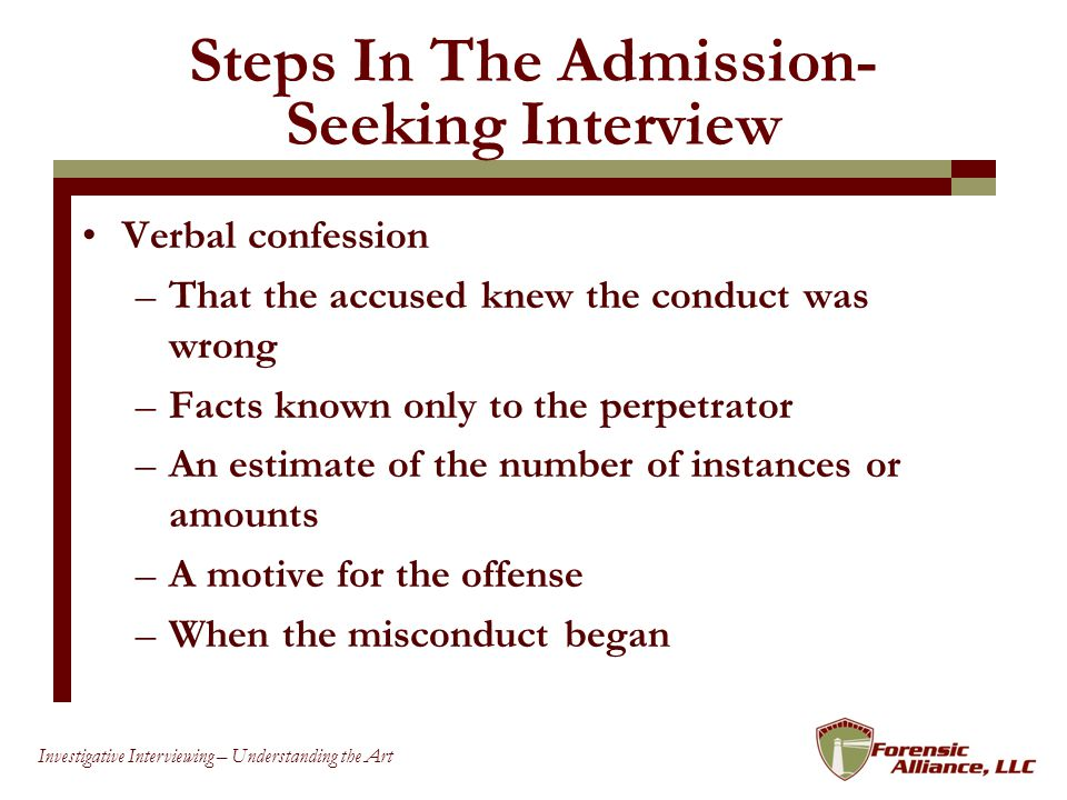 Steps In The Admission-Seeking Interview