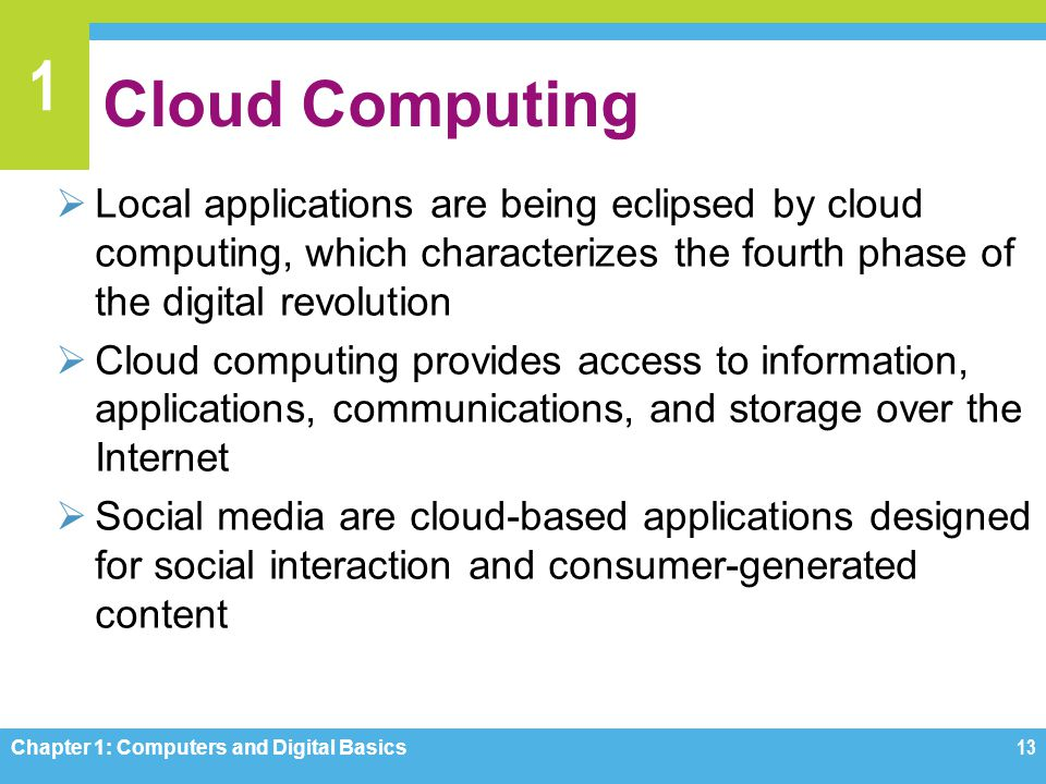 Cloud Computing Local applications are being eclipsed by cloud computing, which characterizes the fourth phase of the digital revolution.