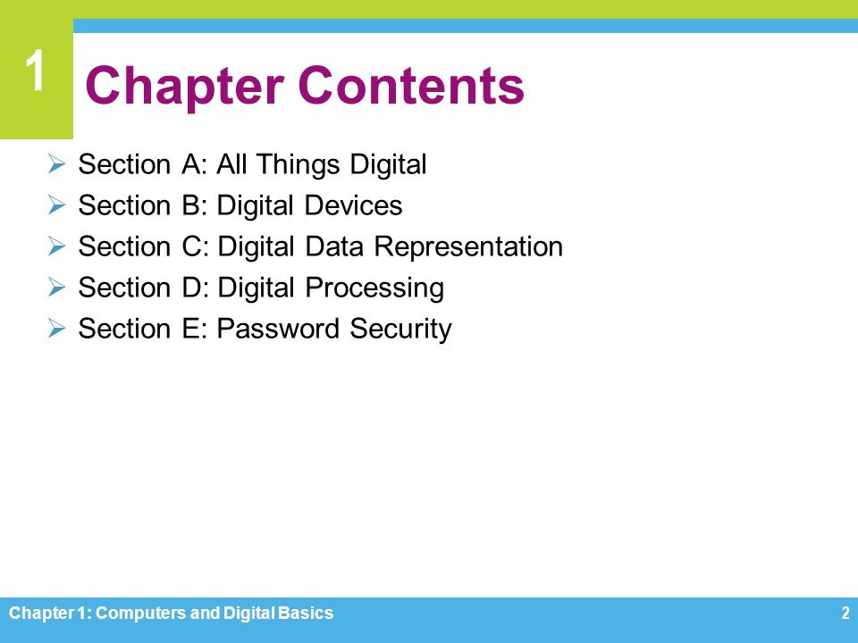 Chapter Contents Section A: All Things Digital