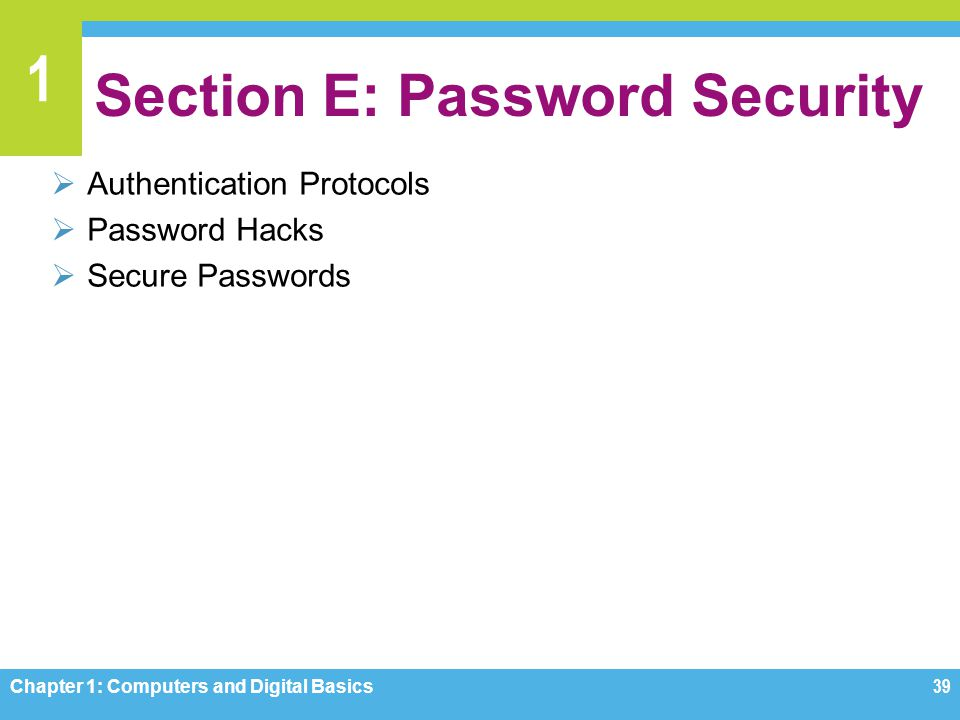 Section E: Password Security