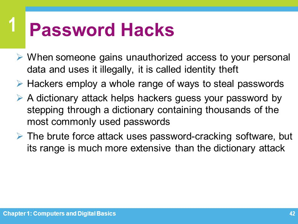 Password Hacks When someone gains unauthorized access to your personal data and uses it illegally, it is called identity theft.