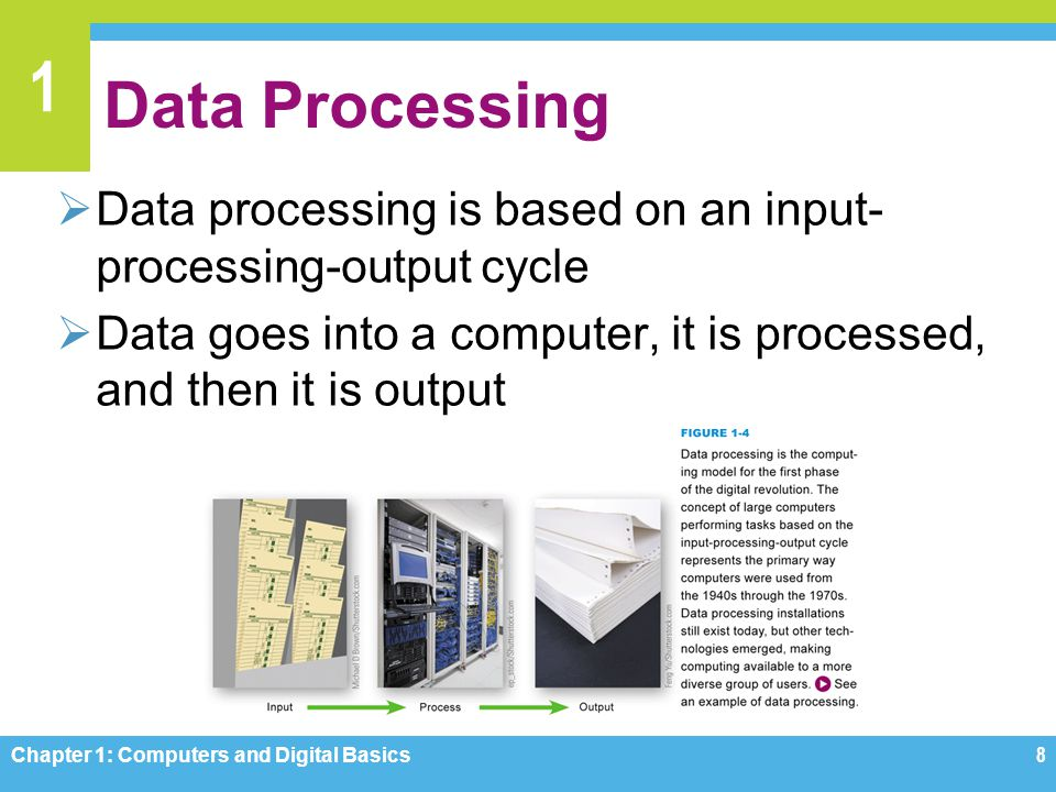 Data Processing Data processing is based on an input-processing-output cycle. Data goes into a computer, it is processed, and then it is output.