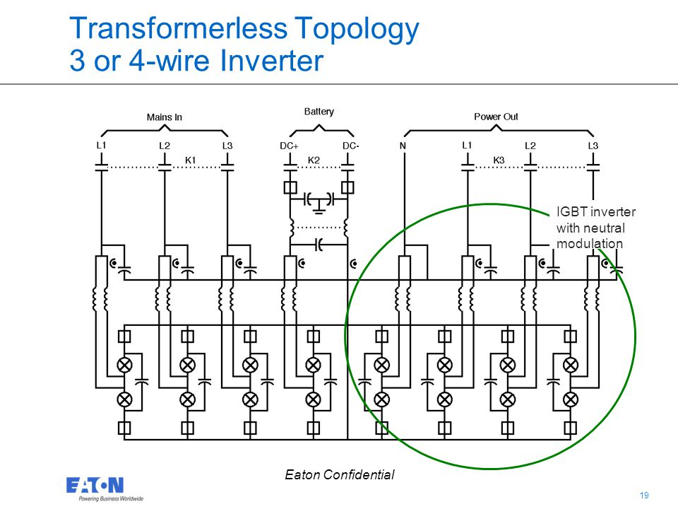 Transformerless Topology 3 or 4-wire Inverter