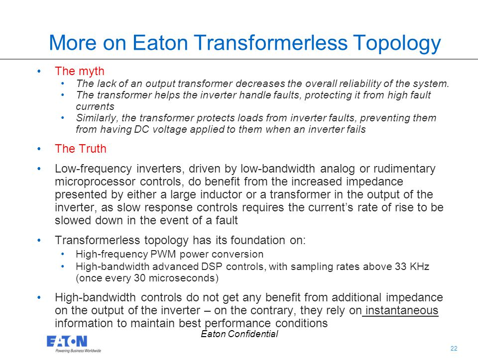 More on Eaton Transformerless Topology
