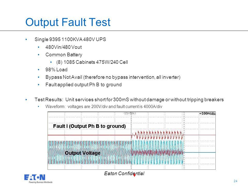 Output Fault Test Single 9395 1100KVA 480V UPS 480Vin/480 Vout
