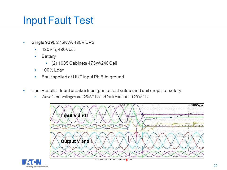 Input Fault Test Single 9395 275KVA 480V UPS 480Vin, 480Vout Battery
