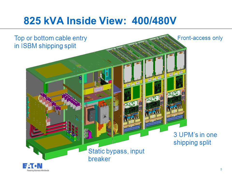 825 kVA Inside View: 400/480V Top or bottom cable entry in ISBM shipping split. Front-access only.