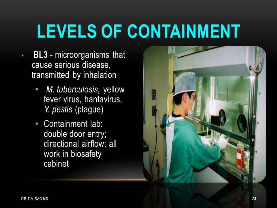 Levels of Containment BL3 - microorganisms that cause serious disease, transmitted by inhalation.