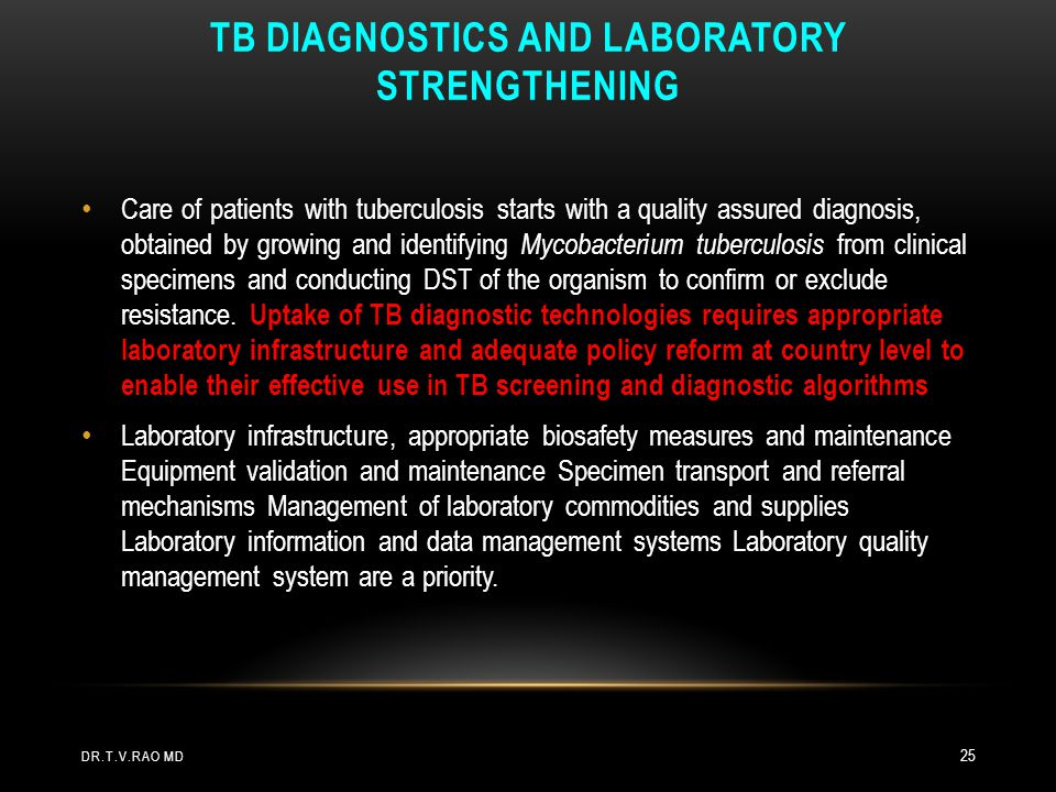 TB diagnostics and laboratory strengthening