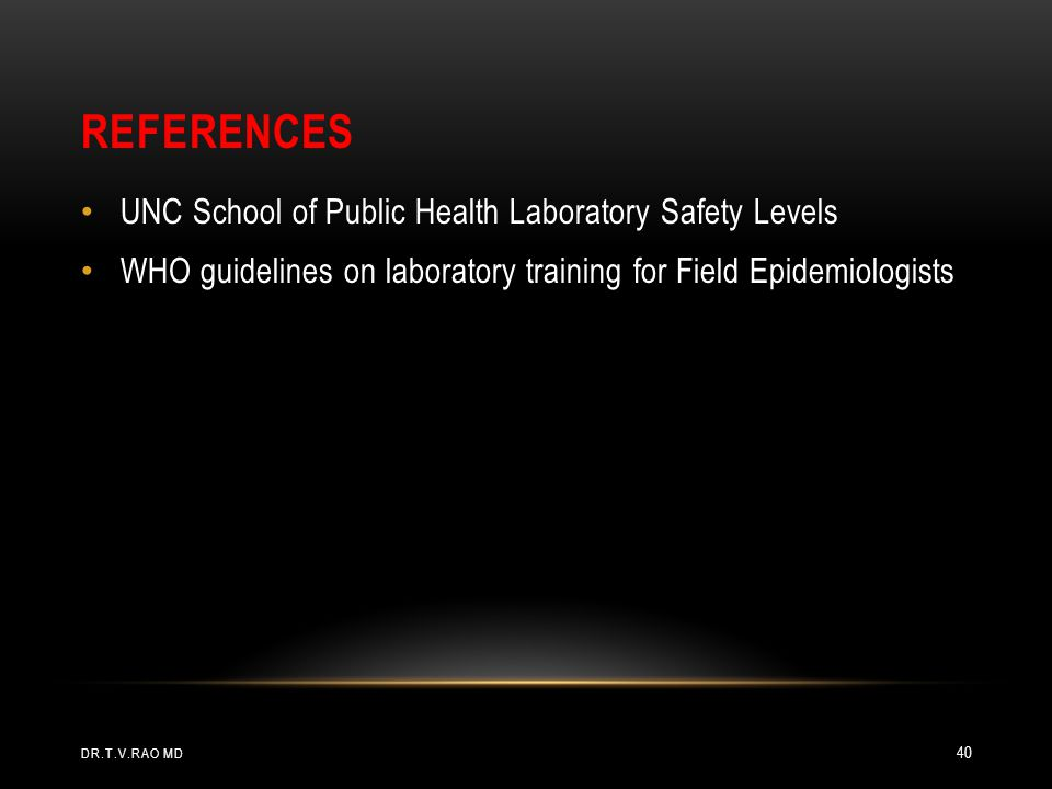 References UNC School of Public Health Laboratory Safety Levels