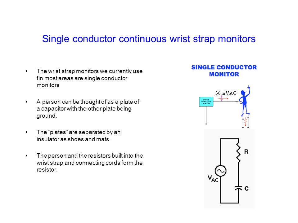 Single conductor continuous wrist strap monitors
