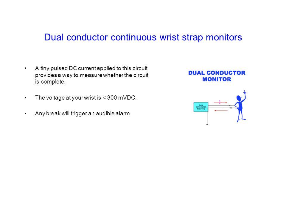 Dual conductor continuous wrist strap monitors