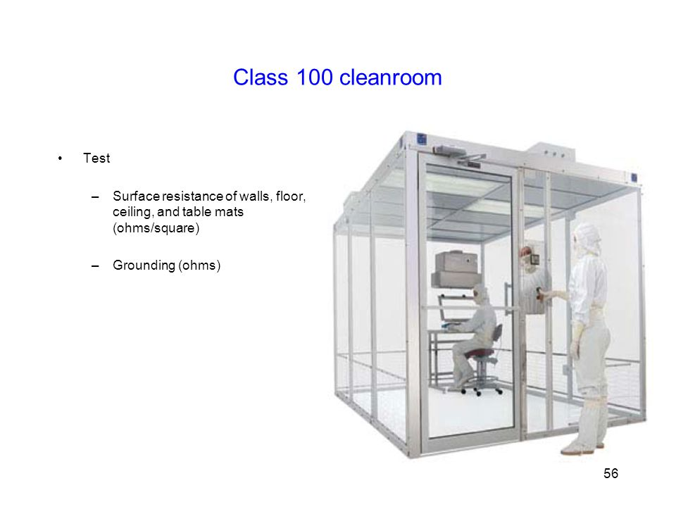 Class 100 cleanroom Test. Surface resistance of walls, floor, ceiling, and table mats (ohms/square)