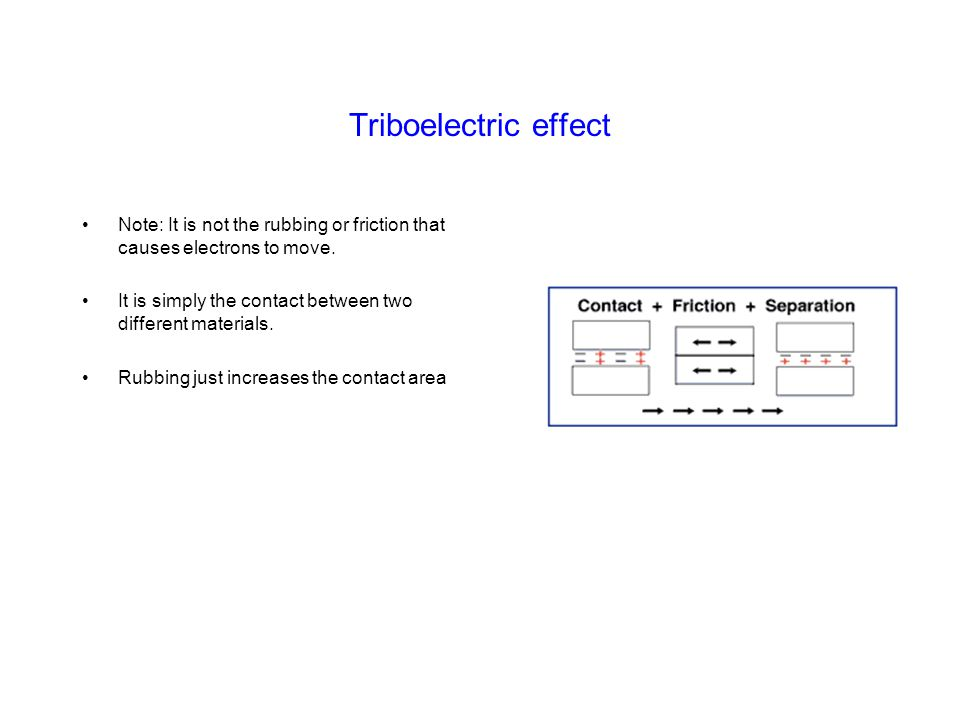 Triboelectric effect Note: It is not the rubbing or friction that causes electrons to move.