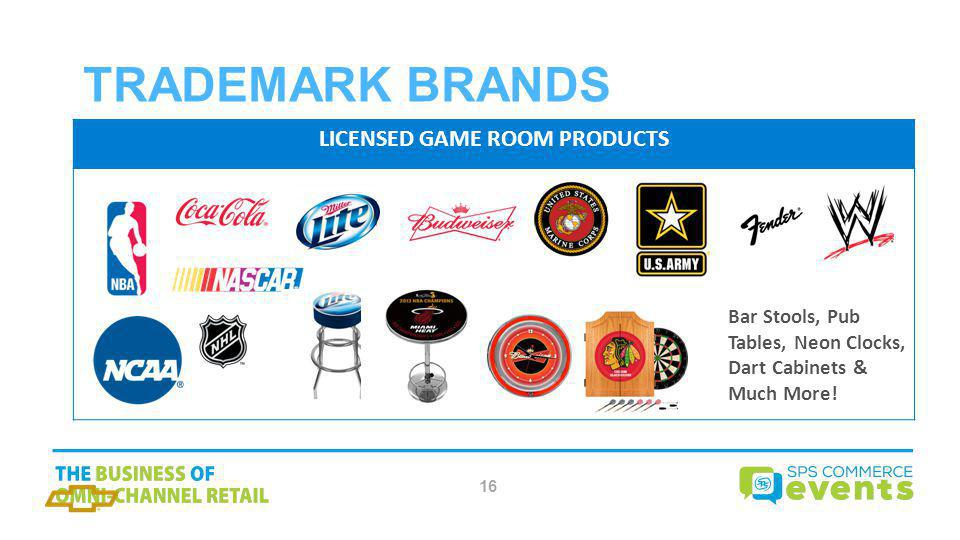 LICENSED GAME ROOM PRODUCTS